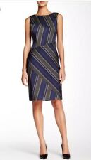 Hugo Boss Diagonal Striped Textured Sheath Dress Size 14 UK As New