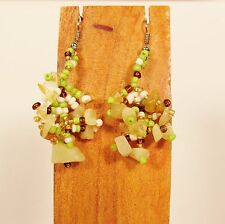 """1 1/2"""" Drop Style Green Gold Color Stone Chip Handmade Dangle Seed Bead Earring"""