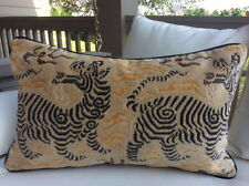 """Clarence House Tibet Dragon Pillow cover in  Charcoal Velvet 14"""" x 22"""""""