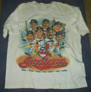 Cleveland Indians Caricature T Shirt Vintage Men Gift Tee MLB Baseball Team 2021