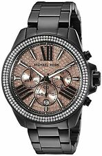 Original Michael Kors MK5879 Black Pave Rose Chronograph Watch