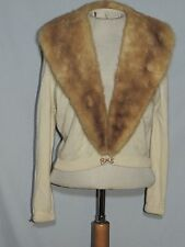 1950's Sweater w Large Mink Collar / Rhinestone Clip MED