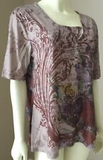 Womens Appropriate Behavior Short Sleeve Brown Embellished Top Blouse XL 16 18