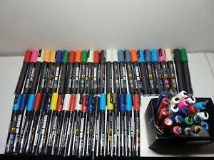 posca paint pens HUGE Bulk Lot 66 pens mixed colours uniball