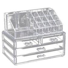 Clear Makeup Case 4 Drawer 16 grid Cosmetic Organizer Jewelry Storage Acryl K2F8