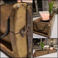 Ziegel Kasten Dekoration Tablett Antik Aufbewahrung Holz Metall Handmade Mod k5