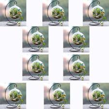 10 Set Clear 12cm Glass Flower Plant Vase Holder Terrarium Container & Stand