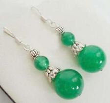 Tibet,vert jade argent,boucles d'oreilles,  green jade earrings