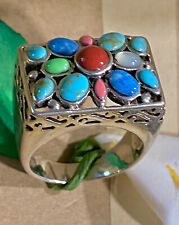Multi-Gemstone Coral Gaspeite Turquoise Lapis Pink Jade Sterling Silver Ring 925