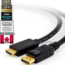 YellowKnife Gold Plated DisplayPort DP to HDMI Cable 6 Feet Audio Video Cord