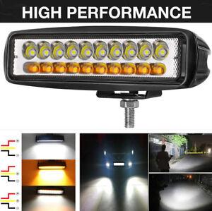 """2x 6.3"""" White + Amber Combo Beam LED Work Light Bar Driving Fog Lamp Waterproof"""