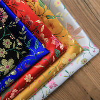 Chinese Damask Fabric Flower Jacquard Brocade Cloth Cheongsam Materials By Metre