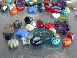 Assorted Czech Glass Beads 20 Pcs Gold Lotus Ladybug Coffee Moon Flower