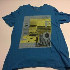 Buffalo By David Bitton Blue Cotton SS VNeck T-Shirt Mens L Beach Scene