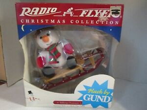 Plush Snowman Rides on a Radio Flyer Sleigh Christmas Collection Tabletop NEW