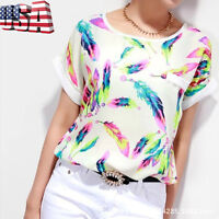 Summer Women Chiffon Casual Short Sleeve Blouse Loose T-Shirt Tops Shirt Tee US