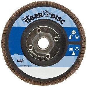 "(10 Pcs) Weiler 4-1/2"" X  5/8""-11 Tiger Grinding / Grinding Flap Disc 60 Grit"