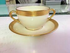 Beautiful Linox Tiffany & Co. Gold trim Coffee/Tee Two hands Cup & Saucer