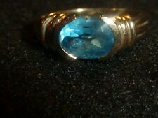10K SOLID YELLOW GOLD OVAL-CUT BLUE SPINEL RING  - SIZE 7 1/4 - 3.30 GRAMS