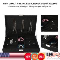 Black Velvet Necklace Display Jewelry Pendant Ring Storage Box Case