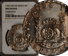 NGC UNC MEXICO SILVER 8 REALES PILLAR DOLLAR 1742/1 MoMF (OVERDATE 1742 OVER 1)