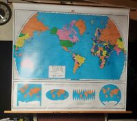 World Pulldown school Classroom Map NYSTROM 56x48 Map No. 1 AG 98