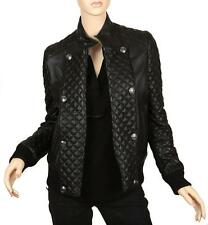 NEW PIERRE BALMAIN BLACK QUILTED LAMBSKIN LEATHER BIKER BOMBER JACKET 40/8