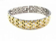 Stainless Steel Magnetic Bracelet 2 Tone Gold Plated 85,000 Gauss SS997-2T