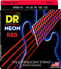 DR NRB5-45 NEON HiDef RED COATED BASS STRINGS, MEDIUM GAUGE 5's - 45-125