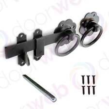 RING GATE LATCH Handle Set Catch Garden Gate Door Fence Metal BLACK 150mm