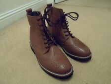 NEW JOHN WHITE MOCCAMOCCA WOMENS BROWN LEATHER BROGUE BOOTS SIDE ZIP UK 7 EU 40