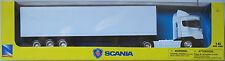 NEWRAY-SCANIA r124/400 conteneur-Truck/Camion/Remorque blanc 1:43 Nouveau/Neuf dans sa boîte