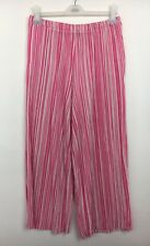 Topshop Pink White Crinkle Cropped Wide Leg Raw Hem Trousers Size 14 - (B16