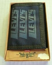 New Vintage Levis Navy Trifold Velcro Wallet w/ Original Inserts NOS