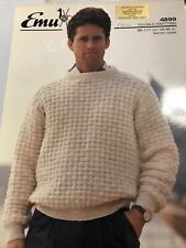 "EMU DK Mens Jumper/Sweater Vintage Knitting Pattern 4899 34""-46"" 7 sizes"
