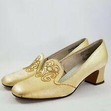 Gold Lame 8.5 B Mod Pumps Low Cuban Block Heel Embroidered Tongue Nos Vtg 60s
