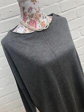 Zara Knit Top Blouse Medium Grey Oversized Boxy Fine Knit Jumper