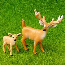 Deer Mother Baby Lifelike Fairy Garden Terrarium Wild Animal Figurine Decor Toy
