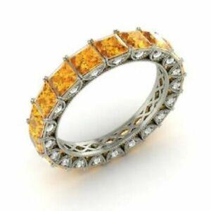 3.75 Ct Citrine Eternity Wedding Band 14K White Gold Diamond Ring Size Over