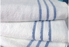 25 Bath Towels Hotel, Leisure Club & SPA White 420gsm 100% Cotton Pile Blue Bar