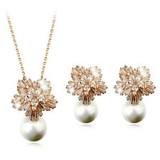 18K ROSE G/P AND GENUINE CUBIC ZIRCONIA AND PEARL NECKLACE AND EARRING SET