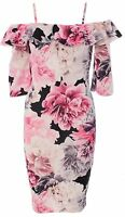 Womens Ladies Floral Frill Strappy Cami Mini Bodycon Dress Short Sleeve Peplum