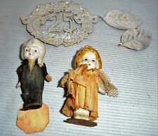 """Bisque Bride & Groom, Arms Move, Clothes Crepe Paper & Net 2.75"""" Tall Vintage"""