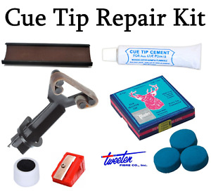 Snooker / Pool Cue Tip Repair Kit & Rubber Tip Clamp Elk Master Tips 8 - 14mm