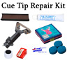 Snooker / Pool Cue Tip Repair Kit & Rubber Tip Clamp Elk Master Tips 8 - 14mm
