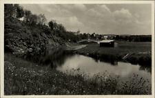 Zruč nad Sázavou Tschechien Postkarte ~1930/40 Partie an der Sasau Fluss Wiesen