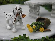 Miniature Dollhouse FAIRY GARDEN ~ Dalmatian Dog w Broken Pot of Flowers ~ NEW