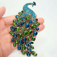 Art Nouveau Peacock Brooch Vintage Emerald Green Crystal Rhinestone Jewelry