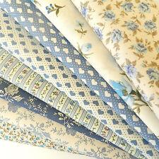 Bundle 8  fabric fat quarters dusky blues & ivory floral selection