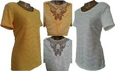 Women Ladies M&S PER UNA Textured Crochet Lace Back Top Blouse Tunic T-Shirt